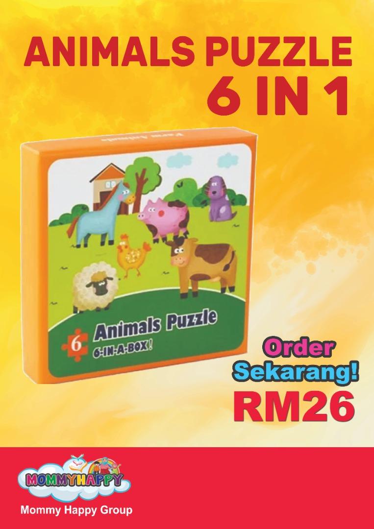 ET93-PERMAINAN- ANIMALS PUZZLE 6 IN 1 BOX (KOTAK OREN)
