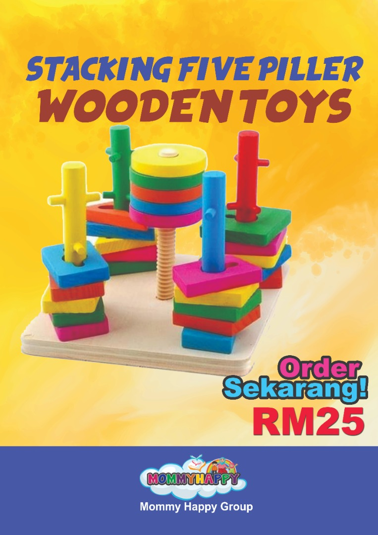 JULET303- STACKING FIVE PILLER WOODEN TOYS