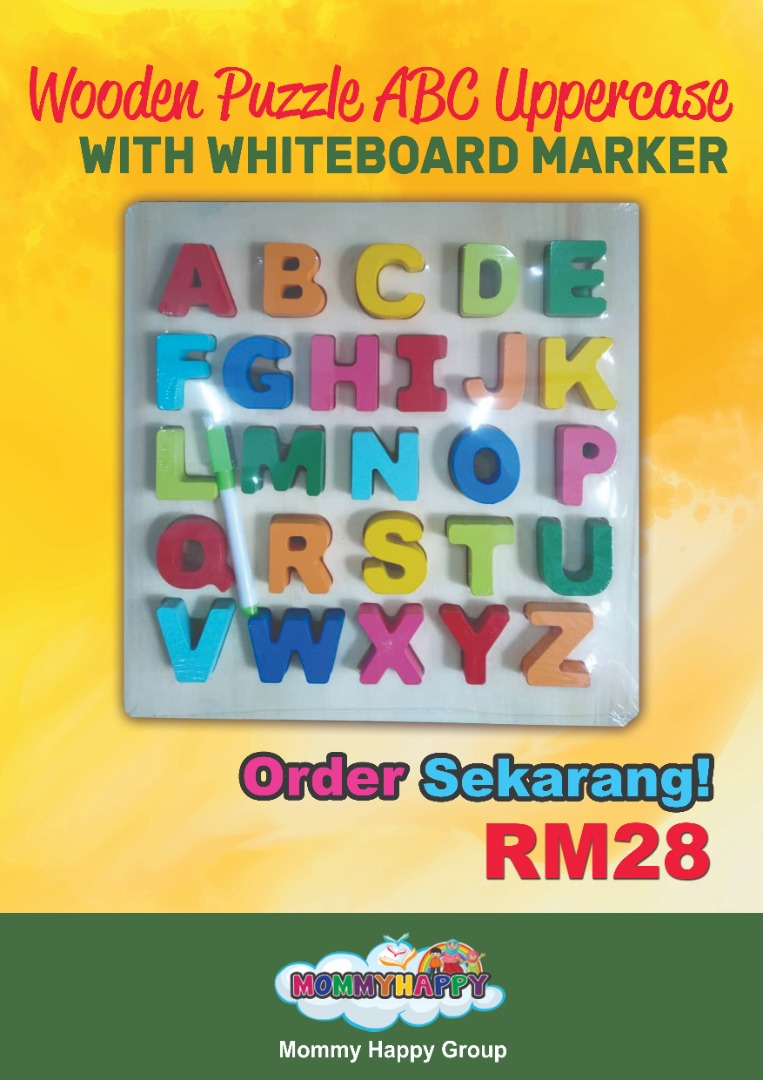 PME01- Wooden Puzzle ABC UPPER CASE with whiteboard marker