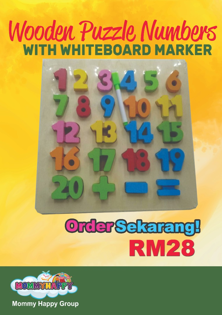 PME10 – Wooden puzzle numbers with whiteboard marker