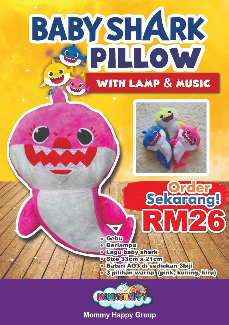 SEPET09-BABY SHARK PILLOW WITH MUSIC & LAMP (PINK)